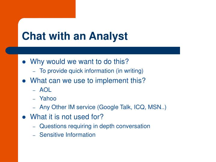 Chat with an Analyst