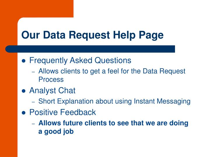 Our Data Request Help Page