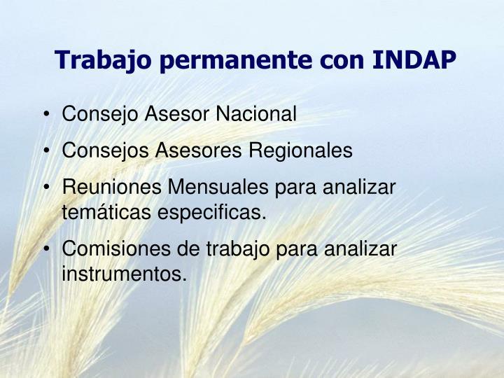 Trabajo permanente con INDAP