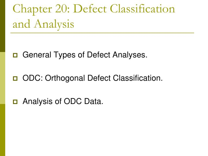 chapter 20 defect classification and analysis n.
