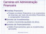 carreiras em administra o financeira