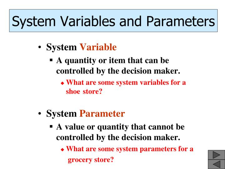 System Variables and Parameters
