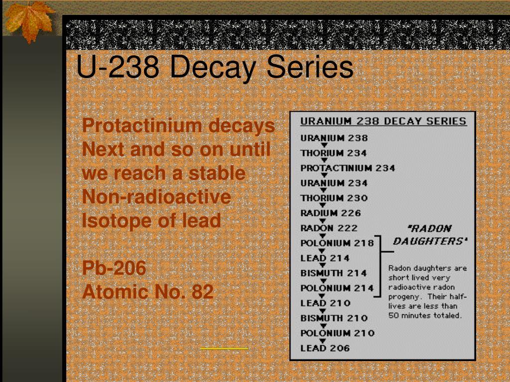 Decay series 238 uranium The series