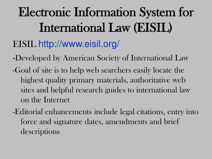 Electronic Information System for International Law (EISIL)