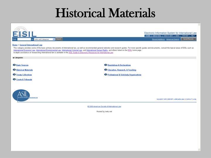 Historical Materials