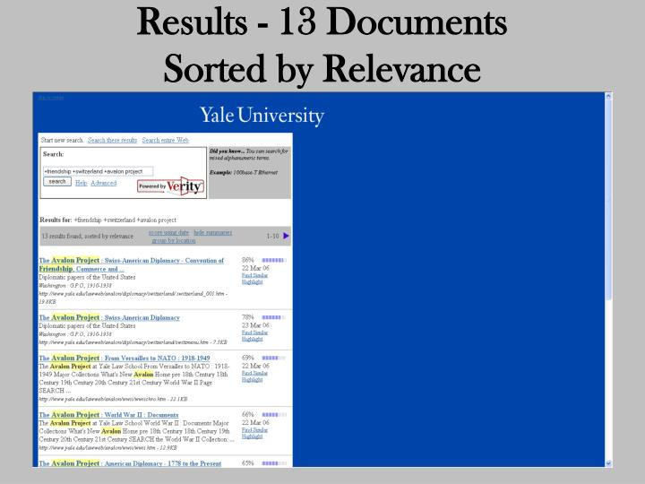 Results - 13 Documents