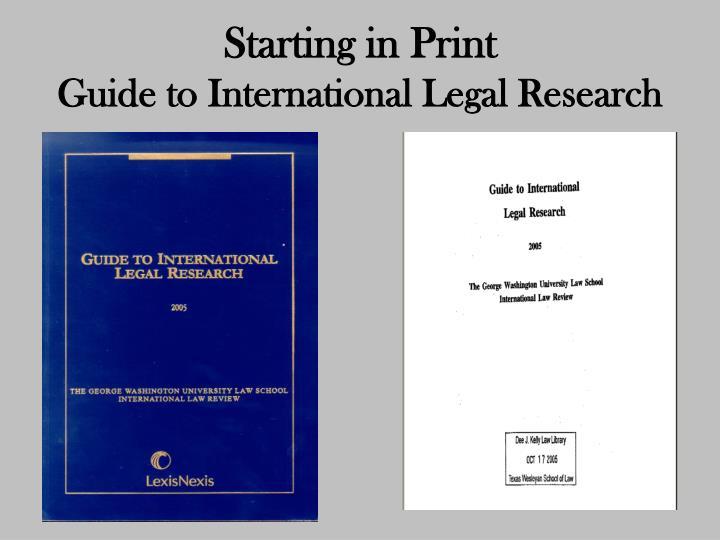 Starting in Print