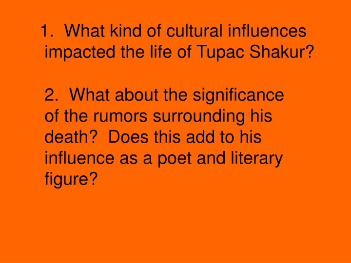 1.  What kind of cultural influences