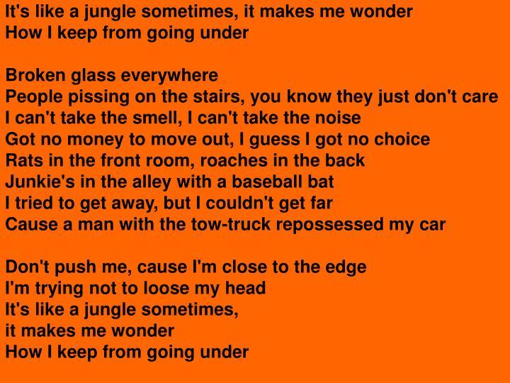 It's like a jungle sometimes, it makes me wonder