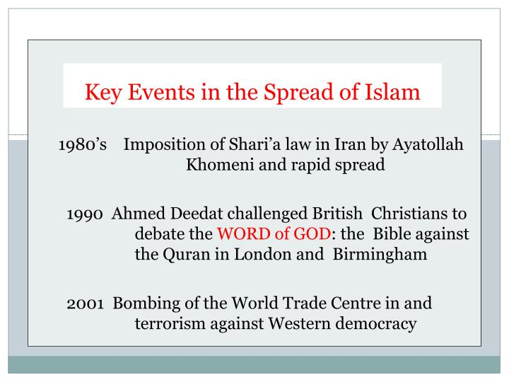 Key Events in the Spread of Islam