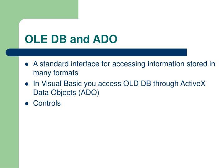OLE DB and ADO