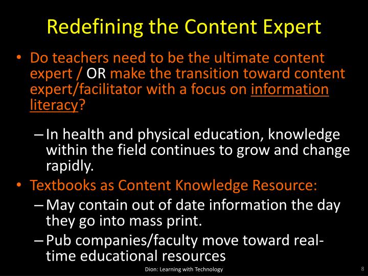 Redefining the Content Expert