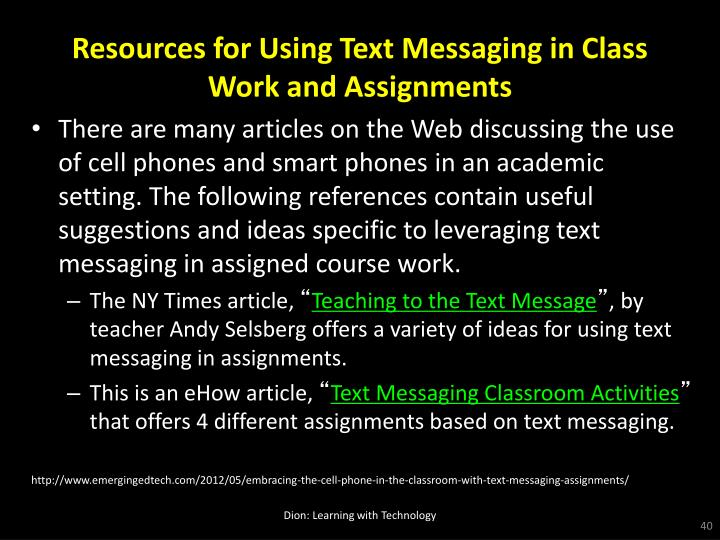Resources for Using Text Messaging in Class Work and Assignments