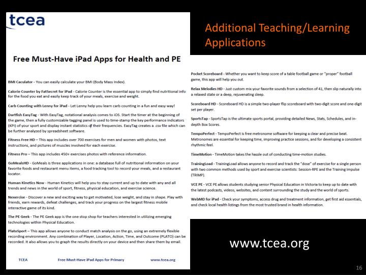 Additional Teaching/Learning Applications