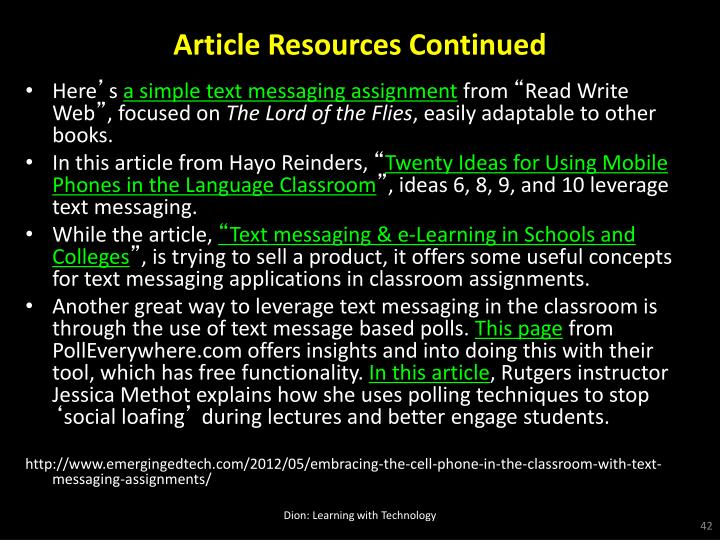 Article Resources Continued