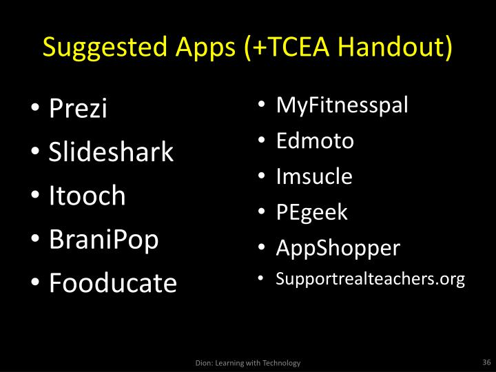 Suggested Apps (+TCEA Handout)