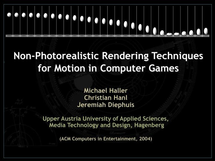 non photorealistic rendering techniques for motion in computer games n.