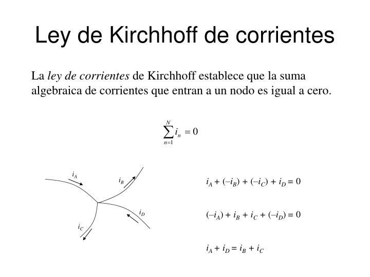 Ley de kirchhoff de corrientes
