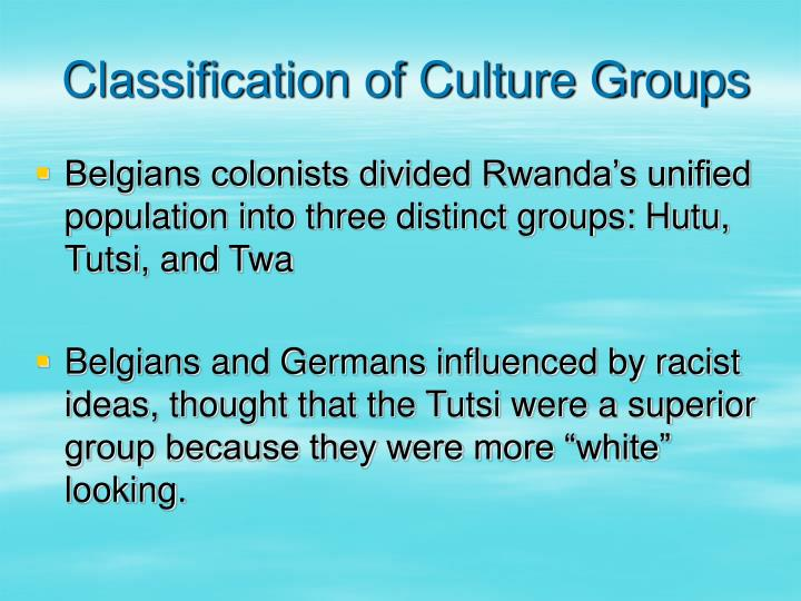 Classification of Culture Groups