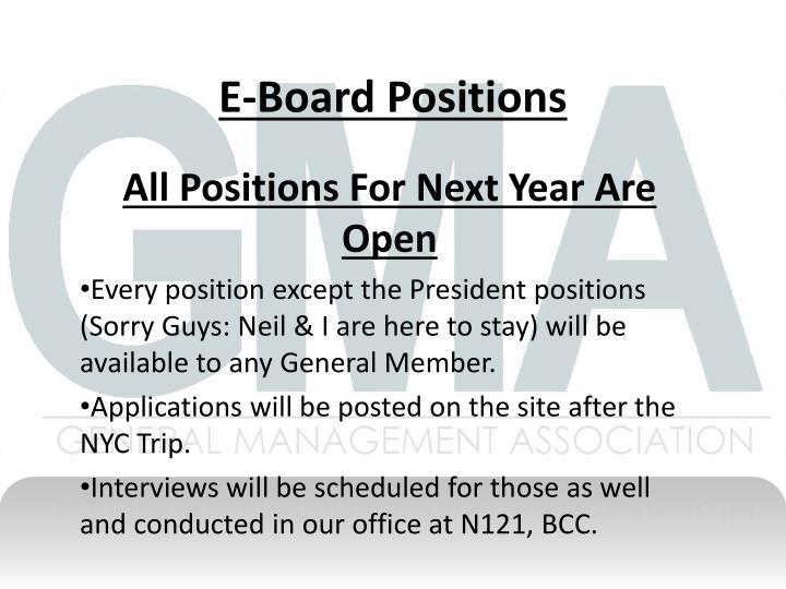 E-Board Positions