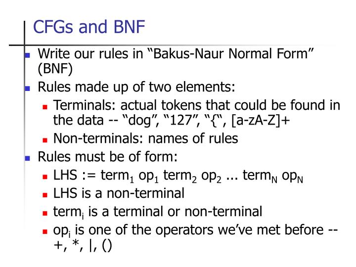 CFGs and BNF