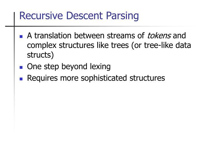 Recursive descent parsing1