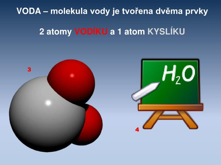 VODA – molekula vody je tvořena dvěma prvky