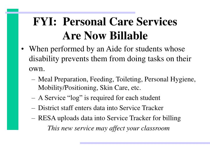 FYI:  Personal Care Services