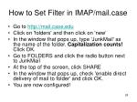 how to set filter in imap mail case