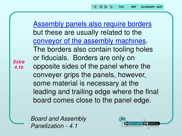 Assembly panels also require borders