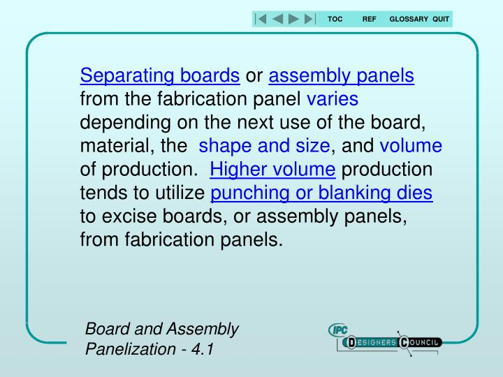 Separating boards