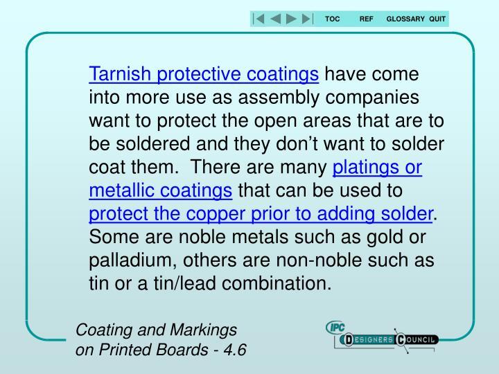 Tarnish protective coatings