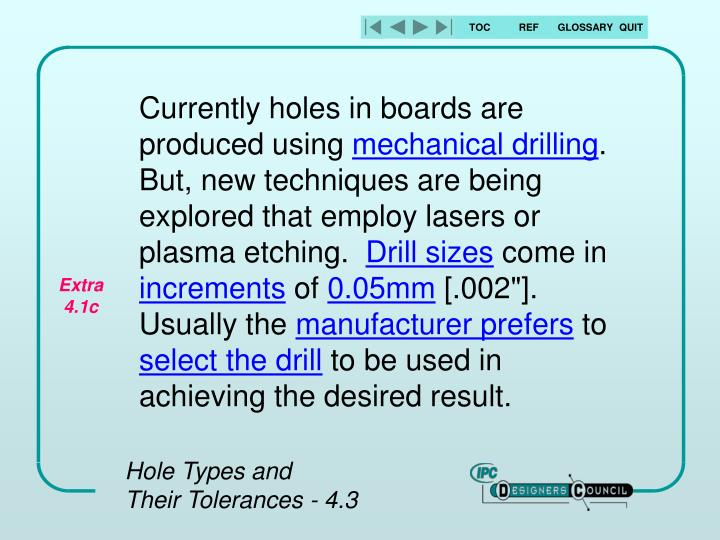Currently holes in boards are produced using