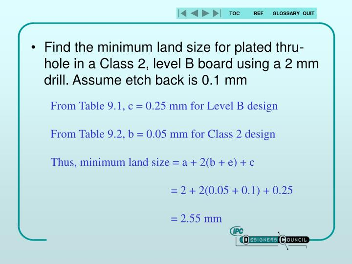 Find the minimum land size for plated thru-hole in a Class 2, level B board using a 2 mm drill. Assume etch back is 0.1 mm