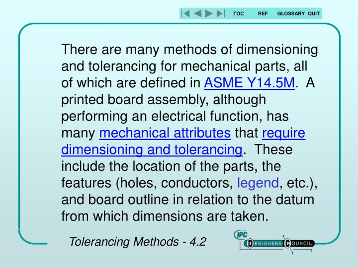 There are many methods of dimensioning and tolerancing for mechanical parts, all of which are defined in