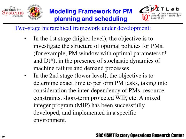 Modeling Framework for PM planning and scheduling