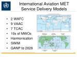 international aviation met service delivery models