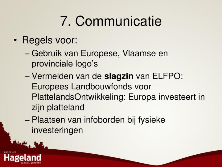 7. Communicatie