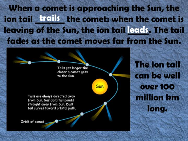 When a comet is approaching the Sun, the ion tail