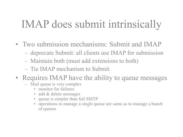 Imap does submit intrinsically
