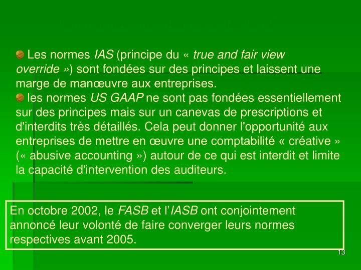 Comparaison normes IAS et US GAAP
