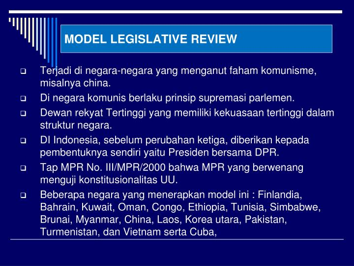 MODEL LEGISLATIVE REVIEW