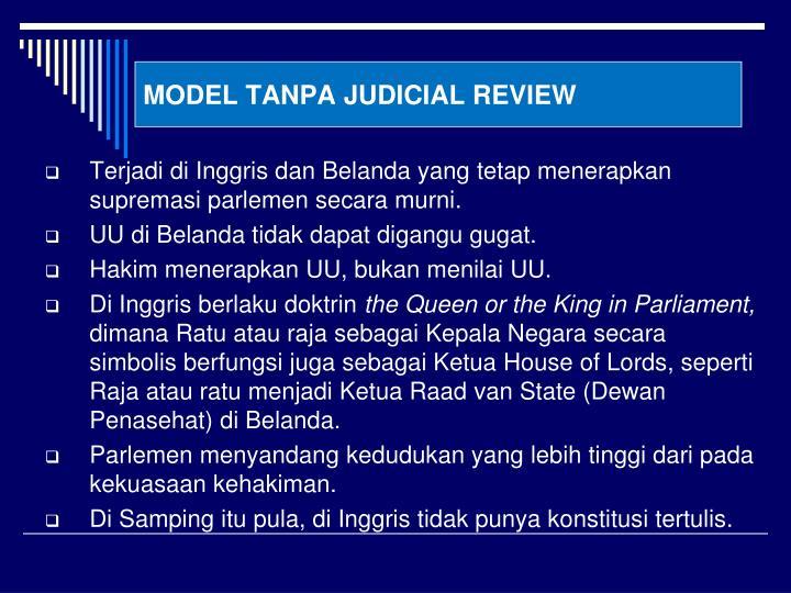 MODEL TANPA JUDICIAL REVIEW