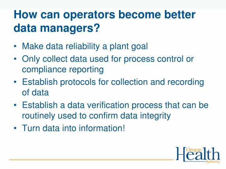How can operators become better data managers?