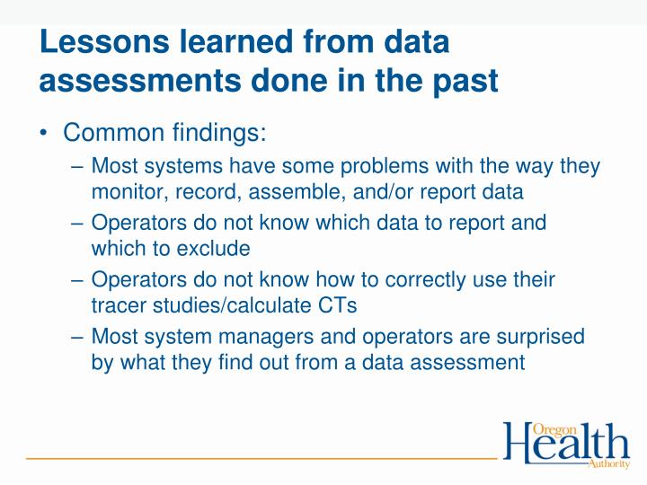 Lessons learned from data assessments done in the past
