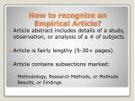 how to recognize an empirical article