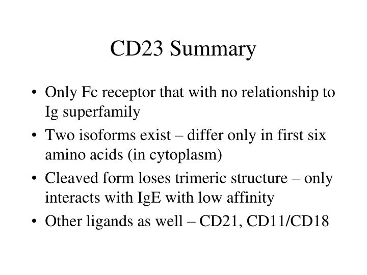 CD23 Summary