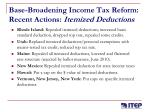 base broadening income tax reform recent actions itemized deductions