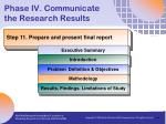 phase iv communicate the research results