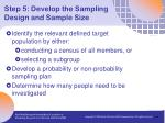 step 5 develop the sampling design and sample size